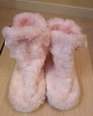Girls Pink Fluffy Slippers Uk Size 11 Bows Cosy And Warm Ankle Height