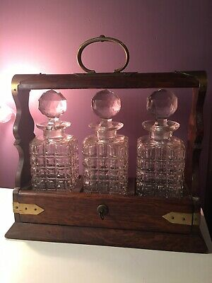 Antique Victorian English Tantalus With Key And Three Crystal Liquor Decanters