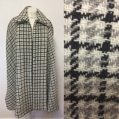 Vintage Wool Cape Grey White Black Approx Size 14