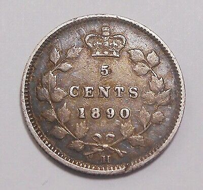 1890H Five Cents Silver F-VF * SCARCE Date Nicely TONED Queen Victoria Canada 5¢