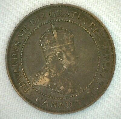 1905 Canada One Cent Coin Large Cent 1c Bronze Very Good