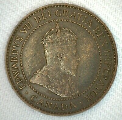 1906 Canada One Cent Coin 1c Large Cent Coin Bronze Very Fine