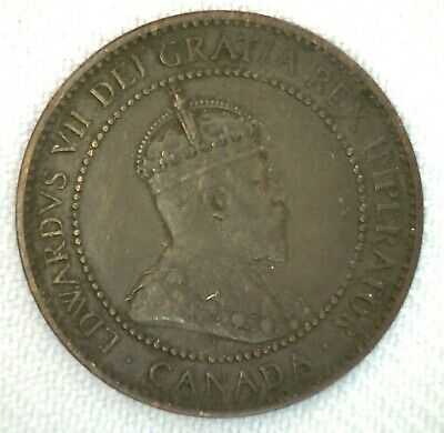 1906 Canada One Cent Coin 1c Large Cent Very Fine Bronze