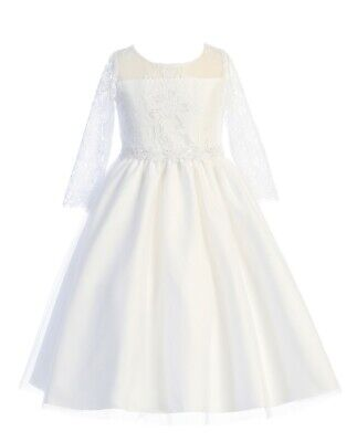 White Lace Tulle Flower Girls Dress Baptism First Communion 3/4 Sleeves New