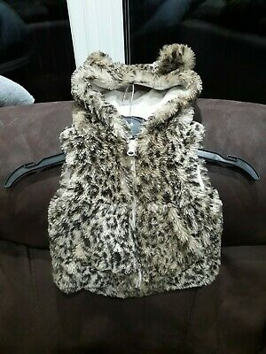 Baby Girls 3/6mths Next  Faux Fur Gillet Hooded Zip Front