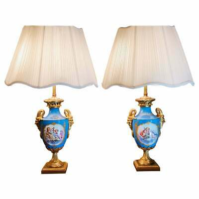 """19th Century French Pair of Celeste Blue Ground """"Sevres Style"""" Vases"""