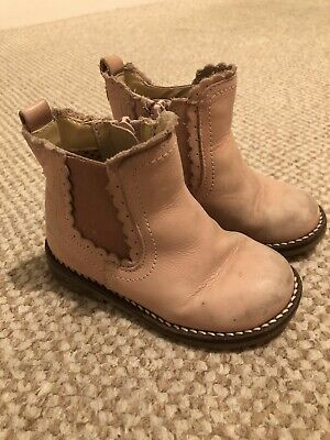 Next Toddler Girls Pink Leather Zip Chelsea Ankle Boots. UK Size 6/EU 23.