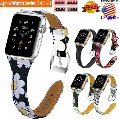 For Apple Watch Series 5 4 3 2 1 Genuine Leather Slim Band Strap 38/42/40/44mm
