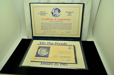 1985 Ronald Reagan Inauguration Day 14K Gold Coin First Day Cover In Display Coa
