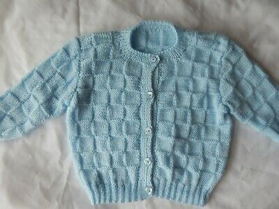 New Hand-Knitted Baby Boy Cardigan Patons Yarn
