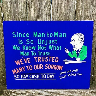 Vintage Bank Credit Humor Gag Protest 1950s 1960s Sign Ephemera Financial