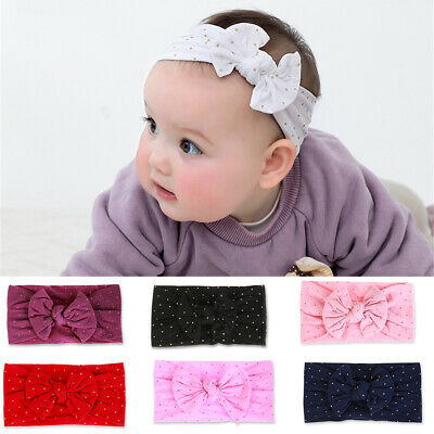 Wide Band Cable Knit  Turban Bow Hairband Baby Girls  Nylon Headband BowKnot