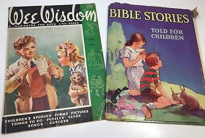 """Vintage Children's Books Lot Of 2  """"Bible Stories"""" 1961 & """"Wee Wisdom"""" 1944"""