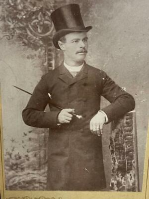 Antique Cabinet Card Photo Handsome Victorian Man Cane Tophat Trenton New Jersey