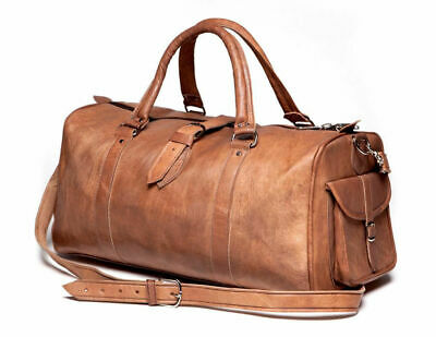 """24""""Real Leather Large Travel Hand Luggage Duffel Gym Bag Weekend Carry-On tote"""