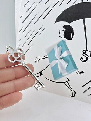 """Tiffany & Co Sterling Silver Crown Large Key Tag 2.5""""/ 9g Pendant  Pouch  20115K"""