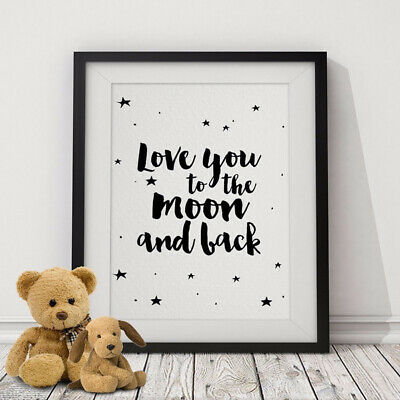Love You to The Moon Pattern Frameless Wall Painting Art Home Picture Room Decor