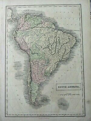 1851 Black Map of South America antique