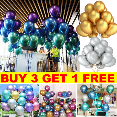 "12/"" Metallic Pearl Chrome Latex Balloons for Wedding Birthday Party 10-30PCS UK"