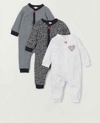 Unisex Boys Girls Footless Sleepsuit babygrows Rompers H&m Size 6-9 Months