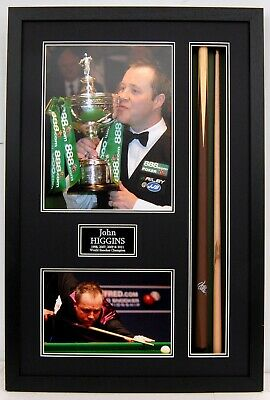 John HIGGINS SIGNED & Framed Snooker Cue Display 4 x World Champion AFTAL COA
