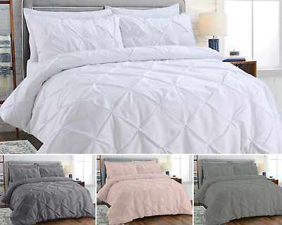 100% Egyptian Cotton Pintuck Duvet Cover Set Bedding Sets Double King Super King