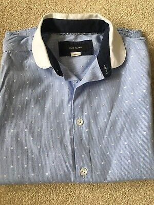Boys Blue And White River Island Long Sleeved Shirt Age 9 WORN ONCE