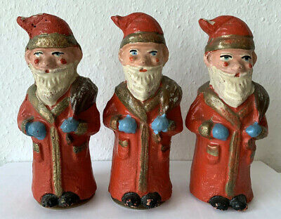 """3 German lovely early 1900   Santa Claus Dresden paper mache  figures  6 1/2 """""""
