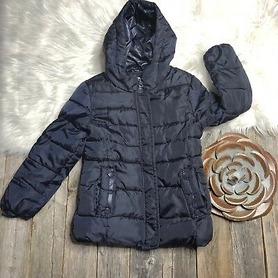 Zara Girls Winter Puffer Jacket Coat Girls 5/6 Navy Zip Snaps Hooded