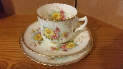 Animone bone china floral and gilt pattern, tea cup, saucer, side plate trio (2)