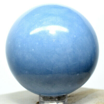 """2"""" Peruvian Blue Angelite Sphere Natural Crystal Sparkling Angelic Mineral Stone"""