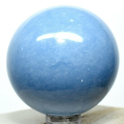 """49mm Peruvian Blue Angelite Sphere Sparkling Natural Mineral """"Angel Stone"""" Ball"""