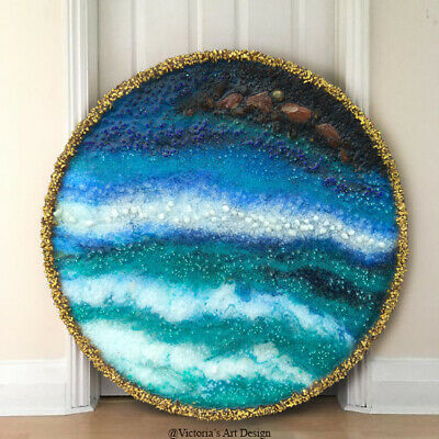 Original Painting on round canvas with epoxy resin Abstract Seascape Modern Art