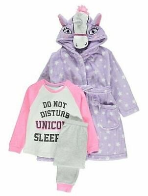 Girls Unicorn Fleece Hooded Dressing Gown Robe & Pj's 3 Piece Set Purple & Aqua