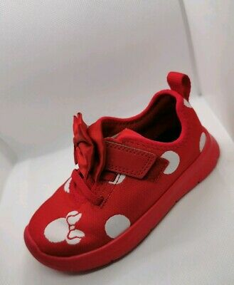 Clarks Disney Limited Edition Girls Minnie Mouse Shoes Size 7.5 UK (25 EU) Red