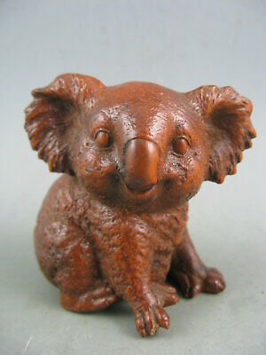 Antique chinese old boxwood hand carved koala statue netsuke hand piece
