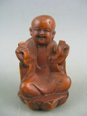 Antique Old Chinese Boxwood Hand Carved Monk Amulet Netsuke Statue