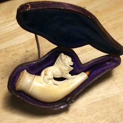 Estate Pipe Lion Hand Carved Block Meerschaum Pipe w/ Fitted Case