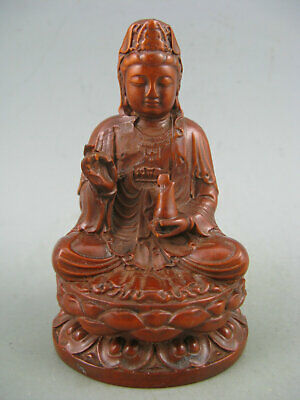 Antique Chinese Old Boxwood Hand Carved KwanYin Statue