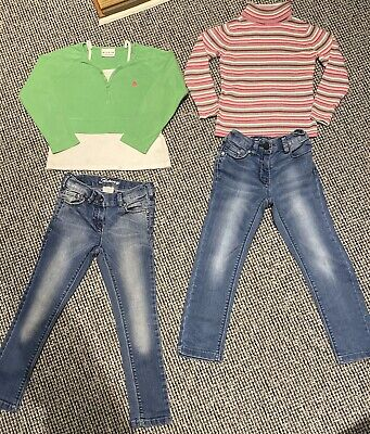 Next Girls X 2 Pair Skinny Jeans. polo neck jumper & top age 6 years exclnt (37)