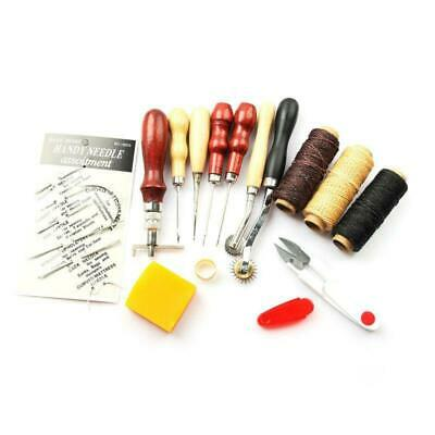 14 PCS Leather Craft Stitching Sewing Beveler Punch Awl Working Hand Tools Set