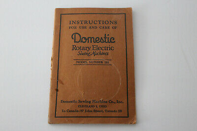 Original DOMESTIC Rotary Electric Model 151 Sewing Machine Instruction Manual