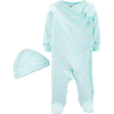 Baby Girl Newborn Carter's Side Snap Sleep & Play Hat Set Pajamas Elephant Mint