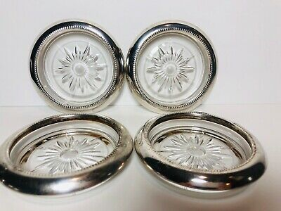 Lot of 4 Leonard Italy Silverplate Cup Holders Glass Starburst Design VINTAGE
