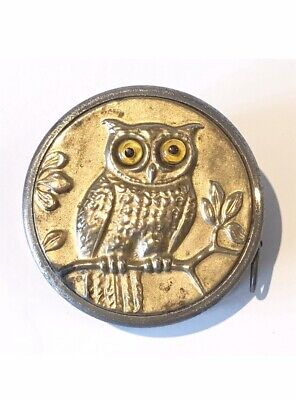 Early 20th Century, Glass Eyed Owl Tape Measure, RARE, C1900