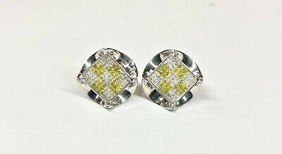14k White Gold Earrings with 1.62ct Yellow and White Diamonds