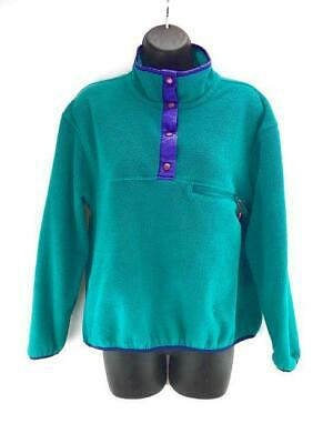 Vtg Eastern Mountain Sports-EMS Womens Small Turquoise Fleece Snap T Pullover