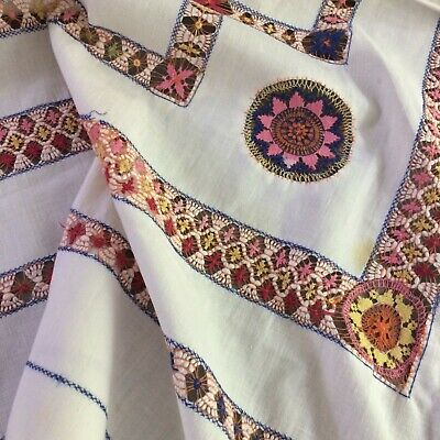 """Antique vtg ivory tablecloth tenerife drawn work colorful 47x44"""" Victorian LOOK!"""