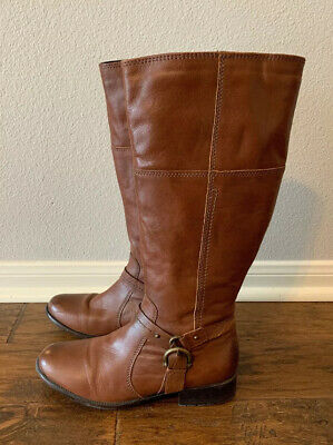 CLARKS WOMENS PLAZA Pilot Brown Riding Boots Shoes 8.5