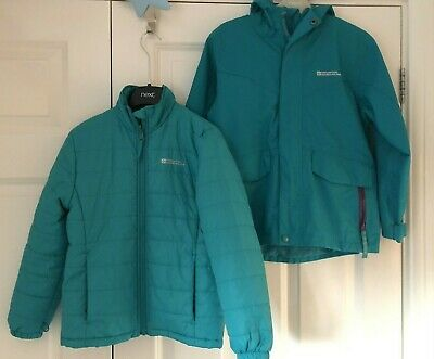 Girl's Size 7-8 Years 3 in 1 Green Winter Waterproof Mountain Warehouse Jacket